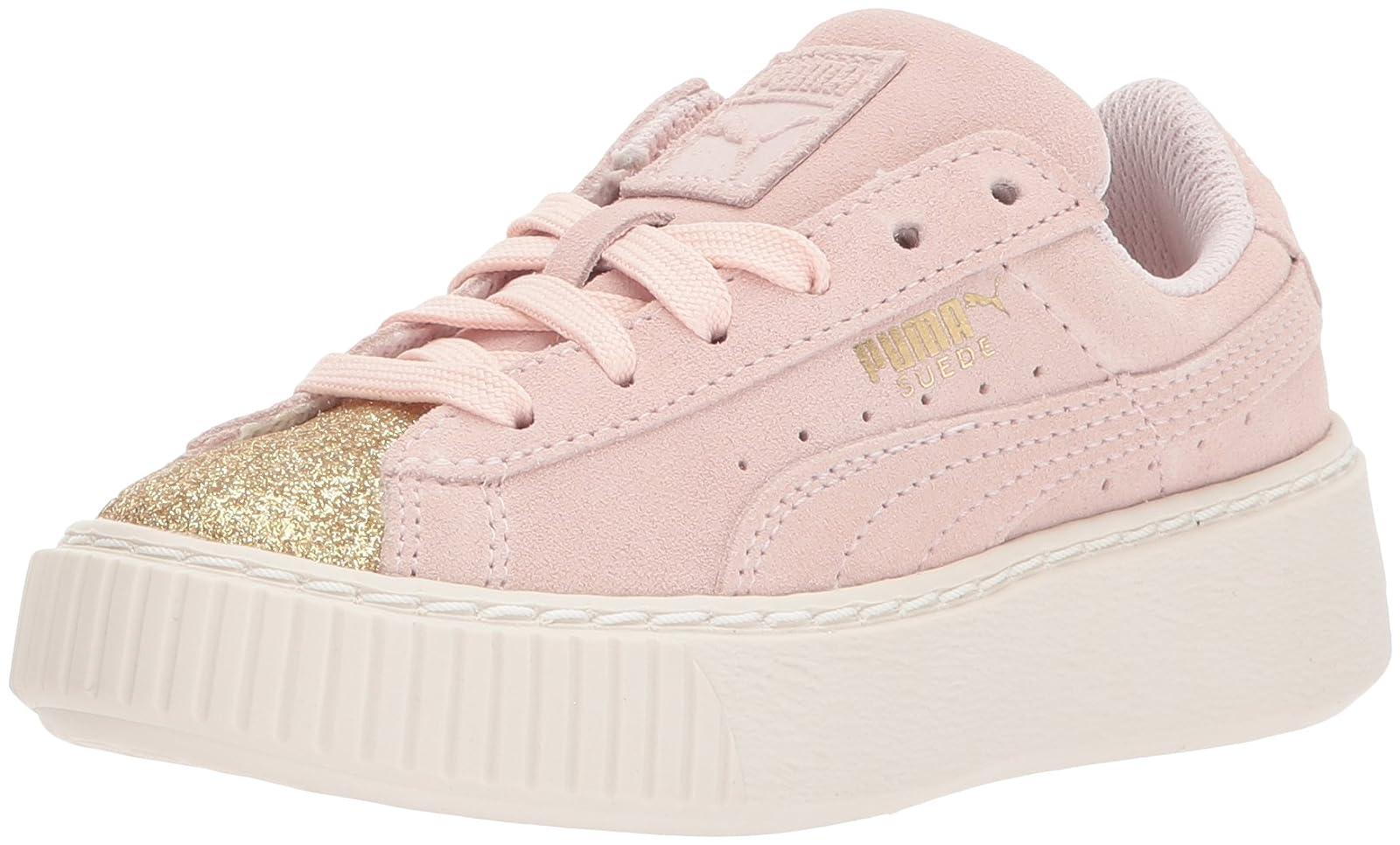 PUMA Kids' Suede Platform Glam Sneaker Pink 36492207 - 1