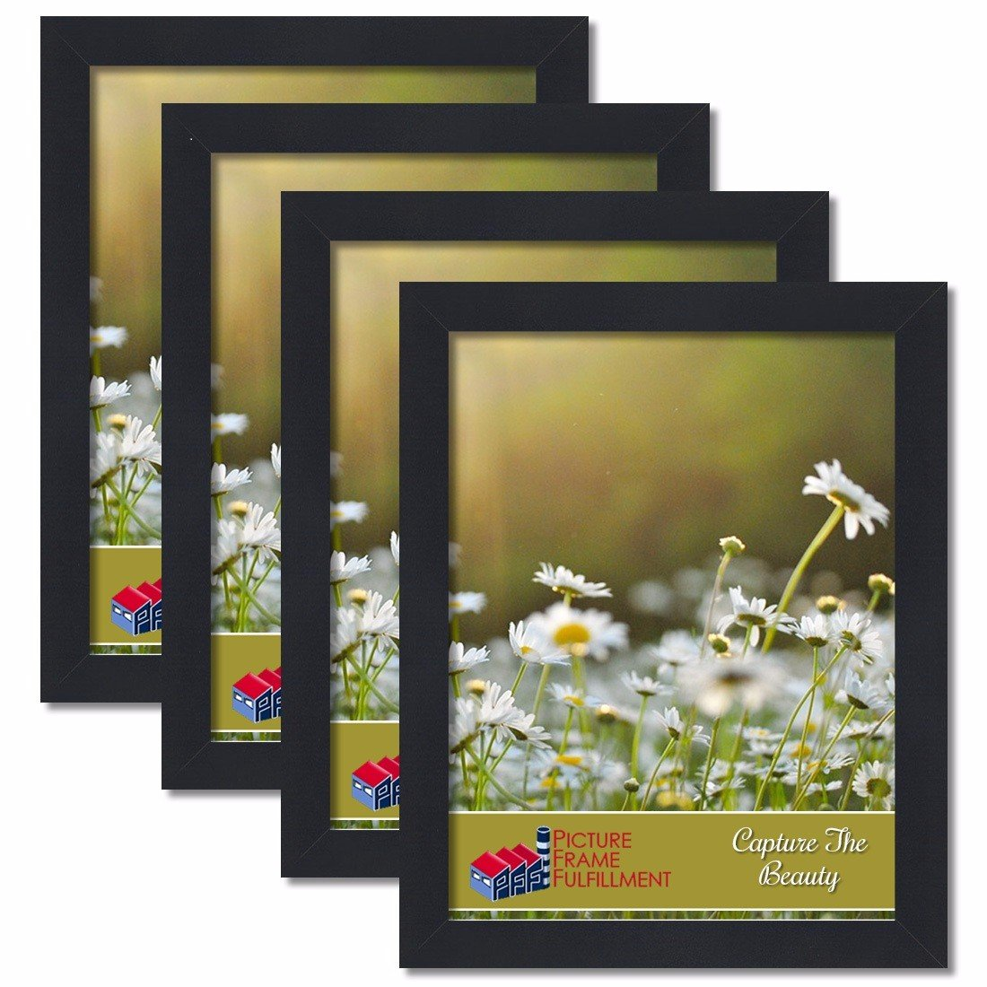 PictureFrameFactoryOutlet 16 by 20-inch Picture Frame 4-Piece Set, Smooth Finish, 1.25 Inch Wide, Black by PictureFrameFactoryOutlet