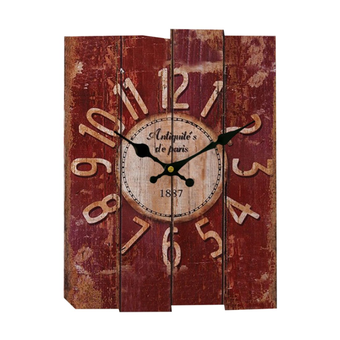Fcoson Retro Style Rectangle Wall Clock Creative Silent Decorative Clock for Cafes Pub Hotel Garden Living Room Red