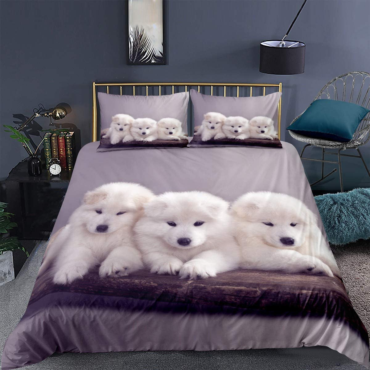 Erosebridal Blck Dog Bedding Set Twin Size Kids Black Puppy Duvet Cover Set 3D Animal Theme Comforter Cover Cute Dog Pattern Decor Bedspread Cover for Kids Teens Boys Black Dog Quilt Cover