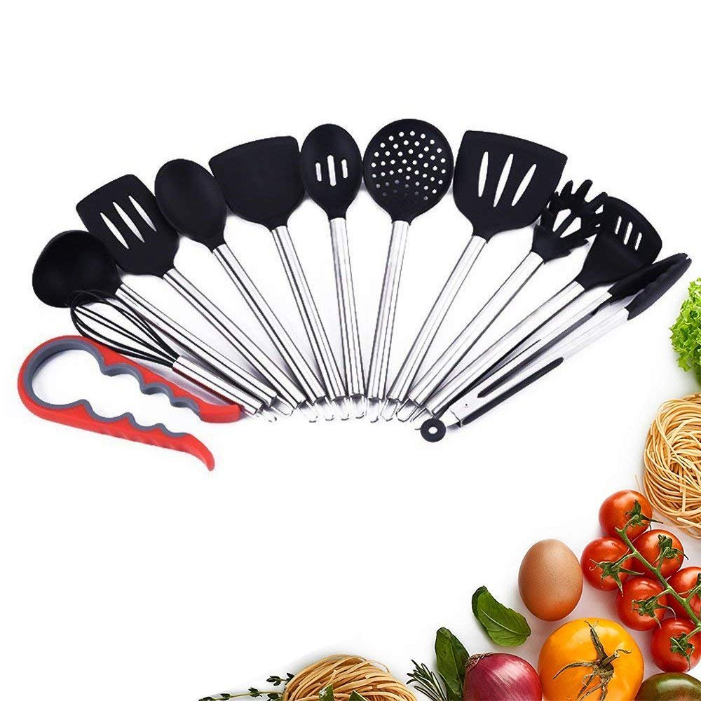 Kitchen Utensils,Haolide Ergonomic Premium Silicone Kitchen Utensils 12-Piece Non-Stick Cooking Utensils Set with Stainless Steel Handles for Commercial Restaurant and Home
