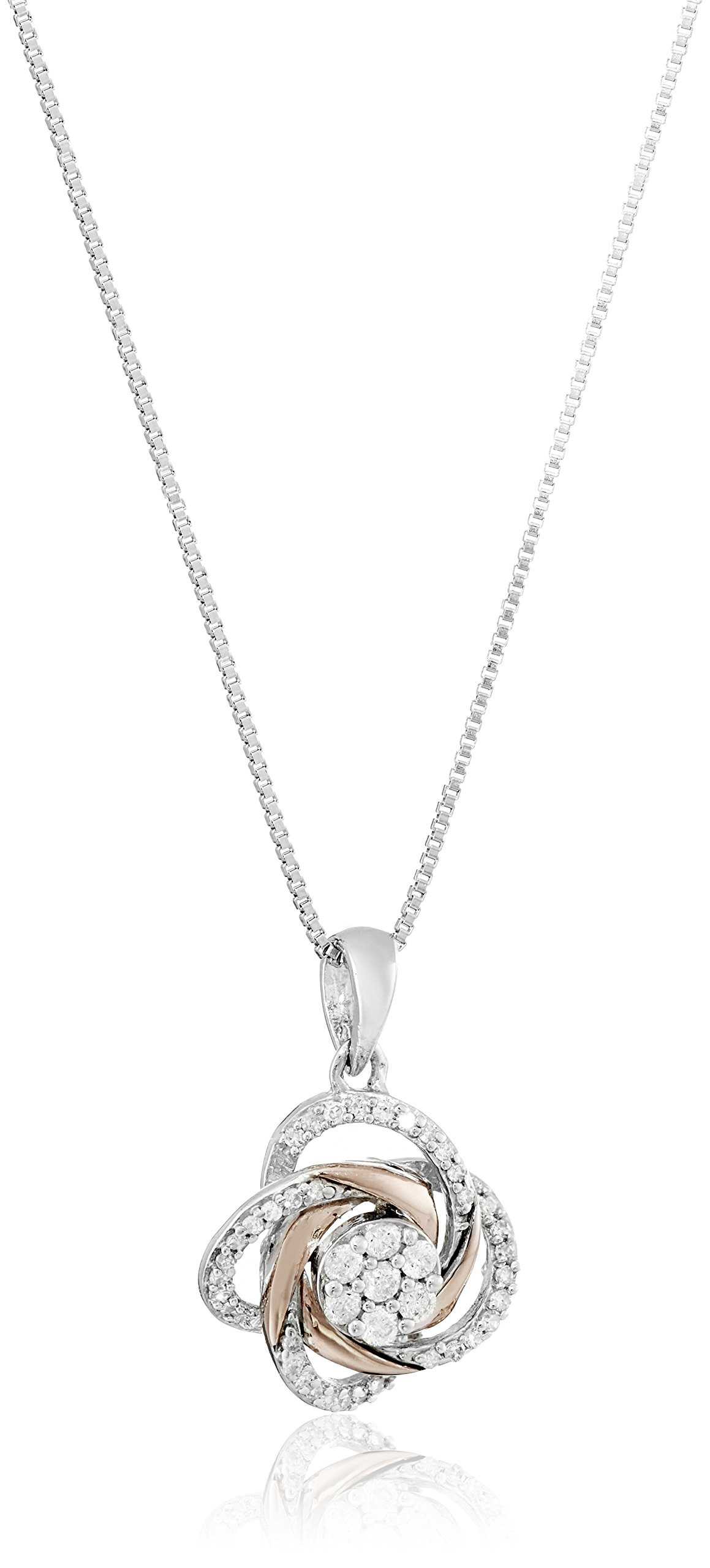 Sterling Silver Two-Tone Diamond Love Knot Pendant Necklace (1/4 cttw, J-K Color, I2-I3 Clarity)