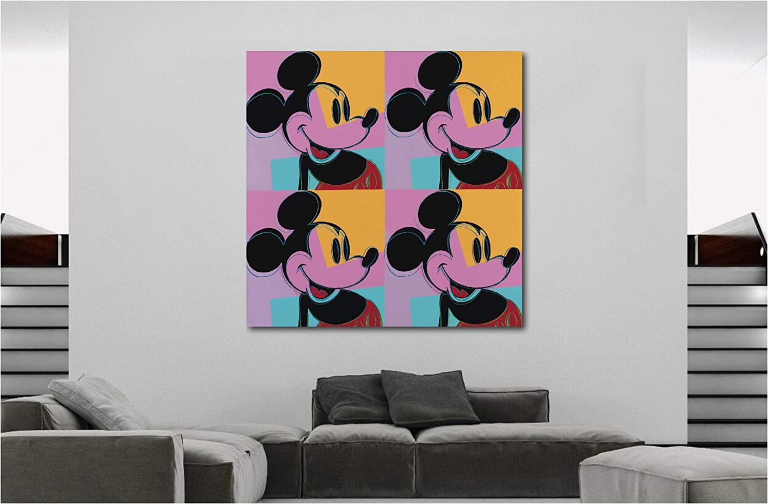 Various Sizes Mickey Mouse Black Framed Canvas Pop Art Andy Warhol
