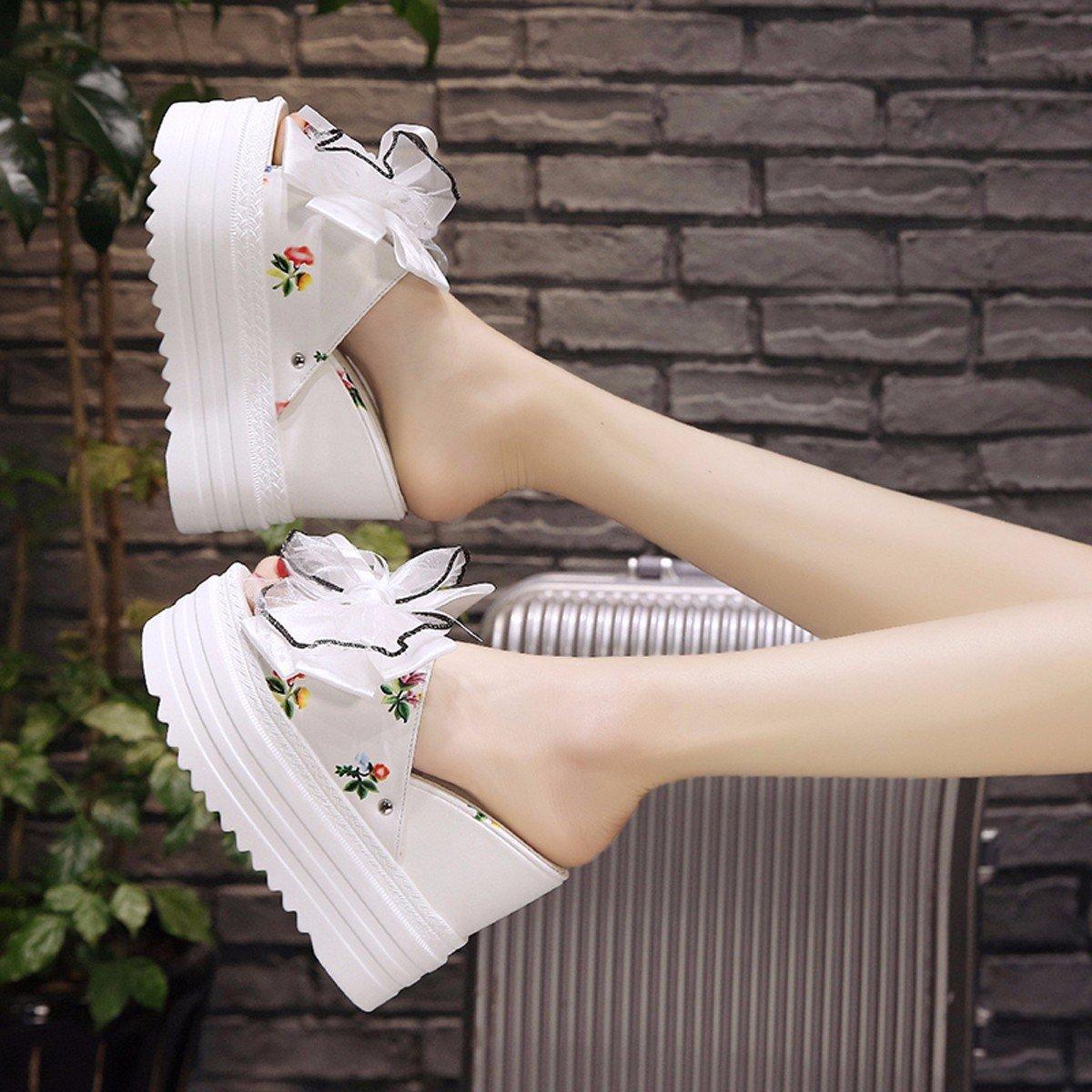 HBDLH Damenschuhe atmungsaktiv bequem Pantoffeln Frauen Sommer Wild 13Cm Mit Hohen Dicke Hintern Blaumen Wort Drag Steigung Muffin Coole Schuhe.
