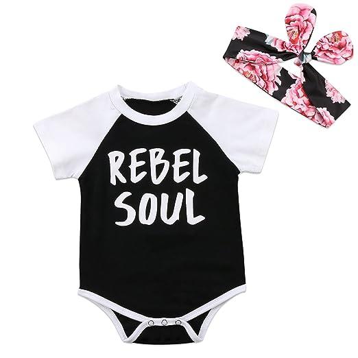 814679319 Amazon.com  Opperiaya Baby Boy Girl Romper Short Sleeve Black ...
