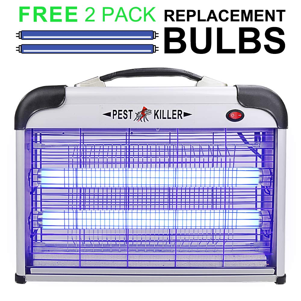 Micnaron Electric Bug Zapper with Handle, Pest Repeller Control-Strongest Indoor 2800 V 20W 6000ft² UV Lamp Flying Fly Insect Killer Mosquitoes -Indoor Use Only (Free 2-Pack Replacement Bulbs).