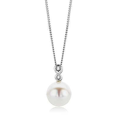 Miore women's 9ct White Gold Small Freshwater Pearl and Diamond Pendant on 45cm Chain GIBgD