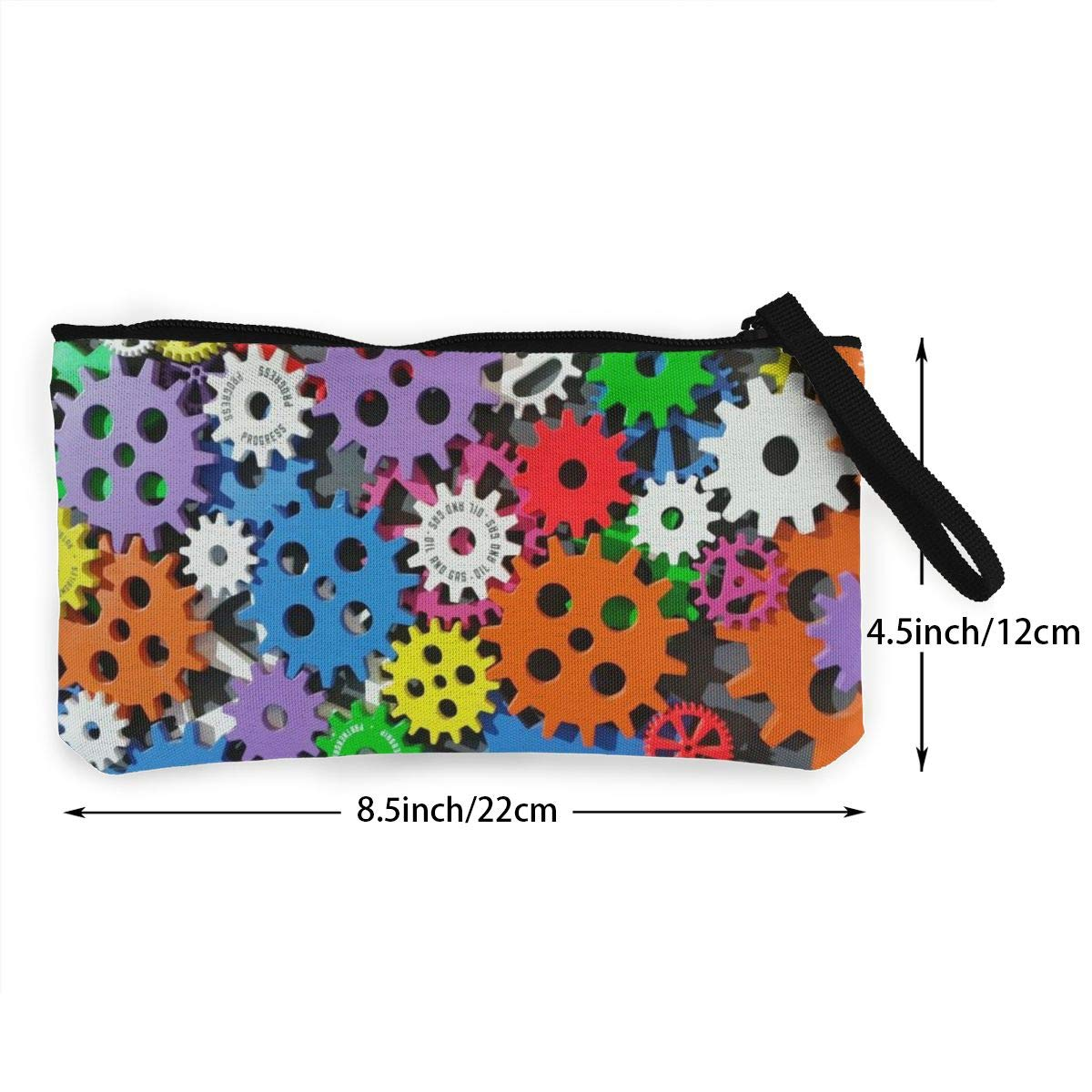 Coin Pouch Colorful Gear Canvas Coin Purse Cellphone Card Bag With Handle And Zipper