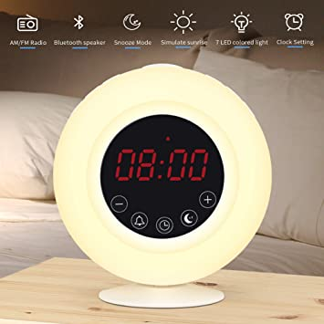 Sunrise Alarm Clock Radio for Kids, AM/FM, Wireless Bluetooth Speaker, Snooze, 7 Color Lights, Digital Touch Control, 3 Levels LED Screen Brightness ...