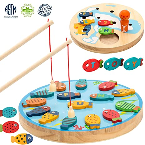 Amazon.com: TEPSMIGO Magnetic Alphabet Letter Wooden Fishing Game