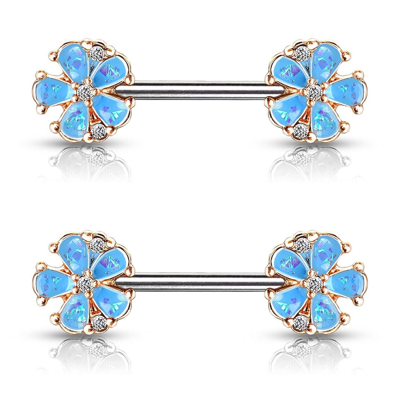 Pair of 14G Super Sparkle Flowers Nipple Piercing Rings Steel Barbells
