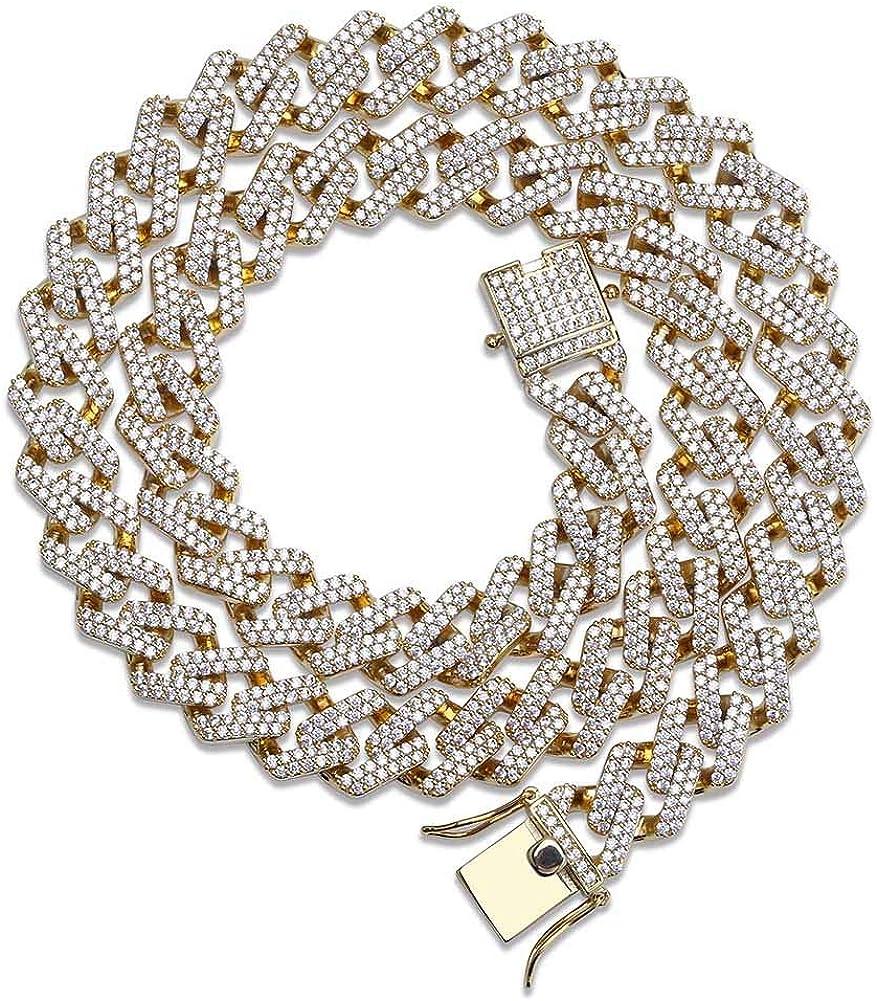 "Chunky Miami Cuban Half Icy Links 14k Gold Plated 16/""-36/"" Choker Hip Hop Chain"