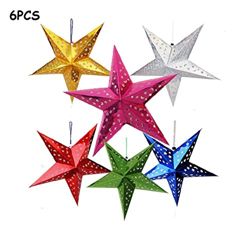 Auony paper star lantern lampshade 6 pack 3d paper star pentagram auony paper star lantern lampshade6 pack 3d paper star pentagram lampshade for christmas xmas aloadofball Gallery