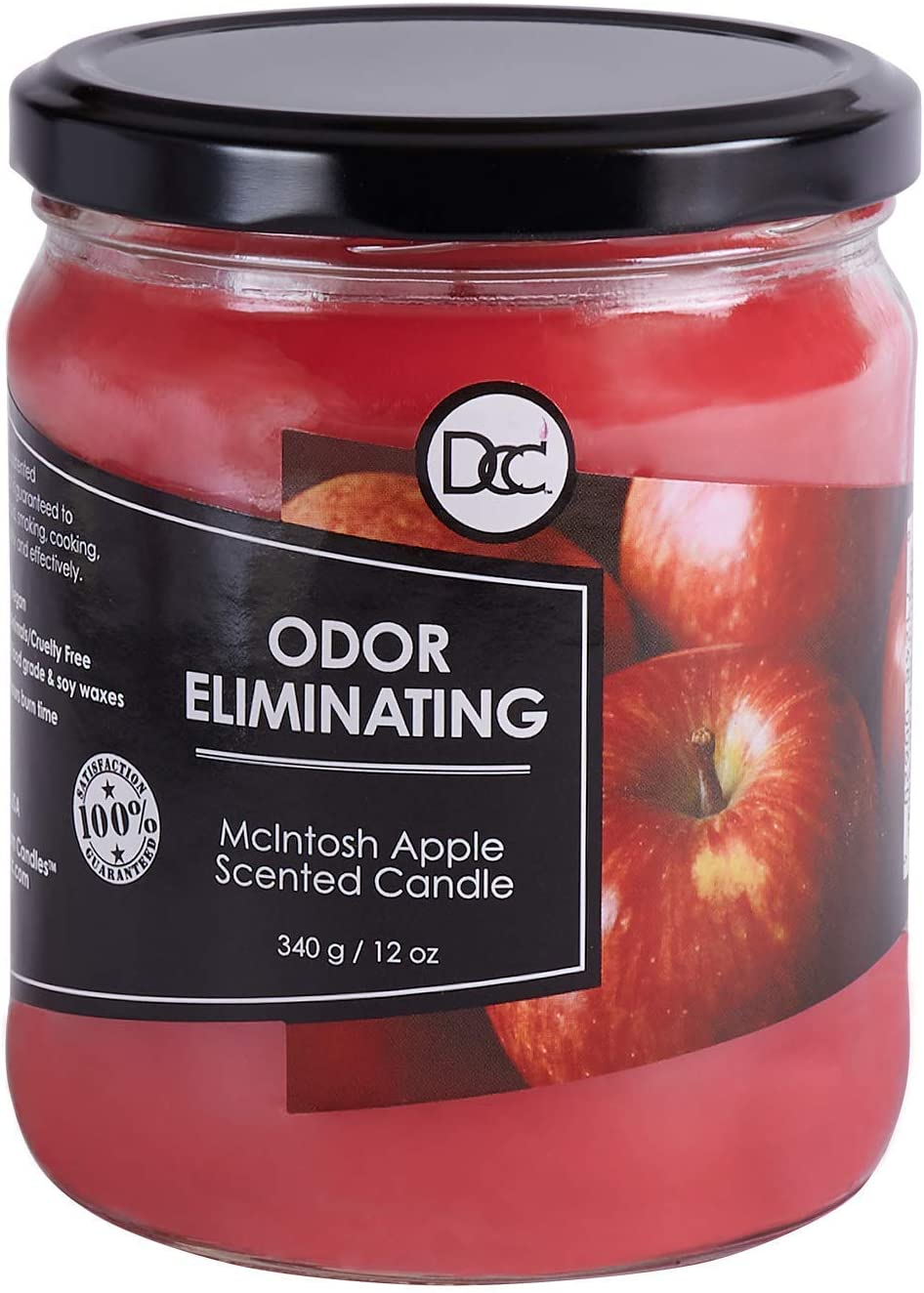 McIntosh Apple Candle - Odor Eliminating Highly Fragranced Candle - Eliminates 95% of Pet, Smoke, Food, and Other Smells Quickly - Up to 80 Hour Burn time - 12 Ounce Premium Soy Blend