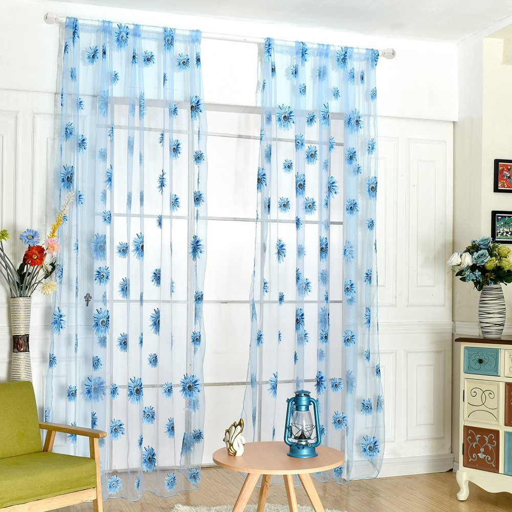 Fedi Apparel Peony Flower Scarf Sheer Voile Door Window Curtains Drape Panel Valances (Blue(Sunflower))