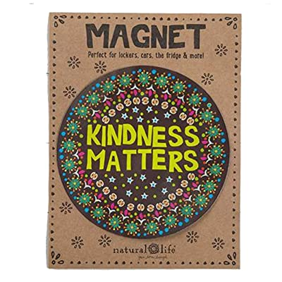 "Natural Life Cheery Car Magnet ""Kindness Matters"" Brown Background Accessory: Kitchen & Dining"