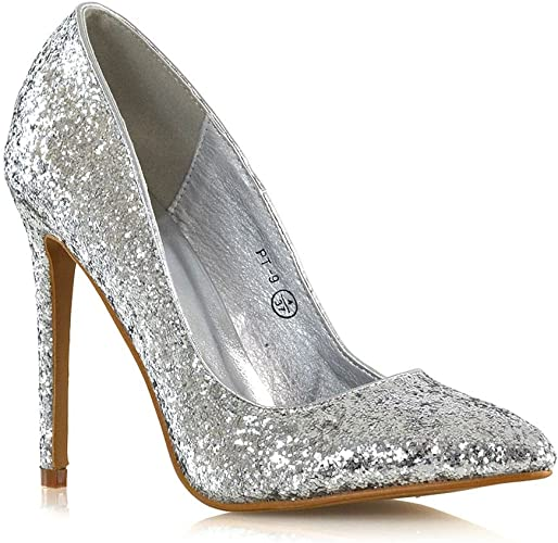 Essex Glam Womens Glitter Pumps With Stiletto High Heel Pointed Toe Wedding Party Shoes