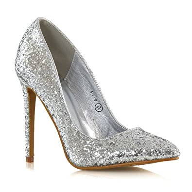 d68e60df7cf ESSEX GLAM Womens Glitter Pumps with Stiletto High Heel Pointed Toe Wedding  Party Shoes