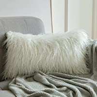 MIULEE Decorative New Luxury Series Style White Faux Fur Throw Pillow Case Cushion Cover for Sofa Bedroom Car 12 x 20…