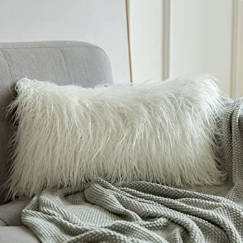 Pleasing Miulee Decorative New Luxury Series Style Christmas White Faux Fur Throw Pillow Case Cushion Cover For Sofa Bedroom Car 12 X 20 Inch 30 X 50 Cm Unemploymentrelief Wooden Chair Designs For Living Room Unemploymentrelieforg