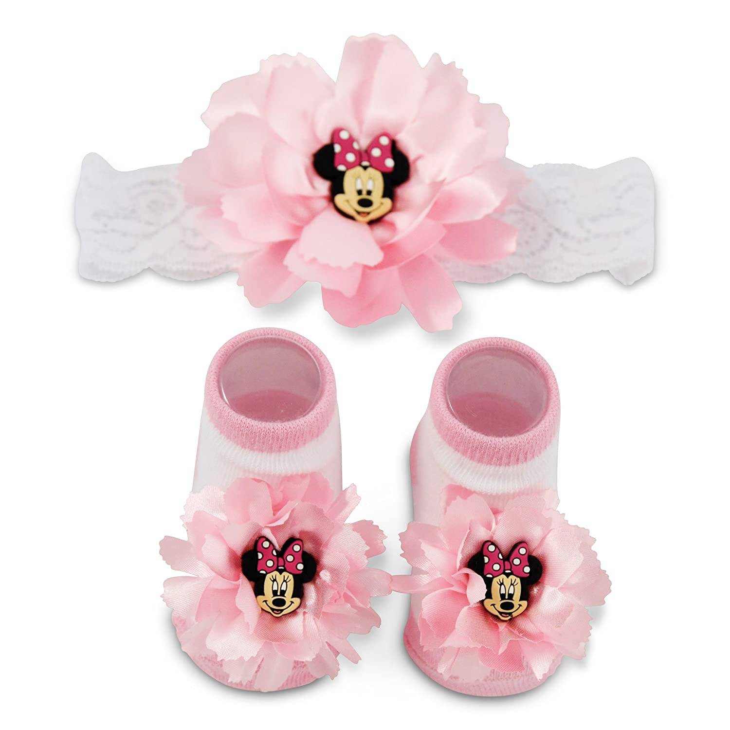 Disney Baby Girls' Minnie Mouse Polka Dot Flower Headwrap and Booties Gift Set pink white 0-12M INX61531AZ