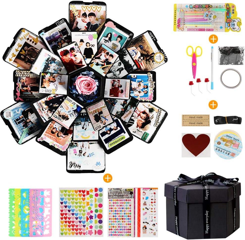 LEADSTAR Explosion Box, Álbum de Fotos Creative Scrapbook DIY de Bricolaje Libro Recuerdos Caja de Explosiones con 6 Caras para Cumpleaños Aniversario Boda San Valentín Día de la Madre Navidad, Negro