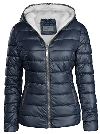 on sale b67ed ff365 S'West Damen Winterjacke GEFÜTTERT STEPP DAUNEN Optik Kapuze Skijacke WARM