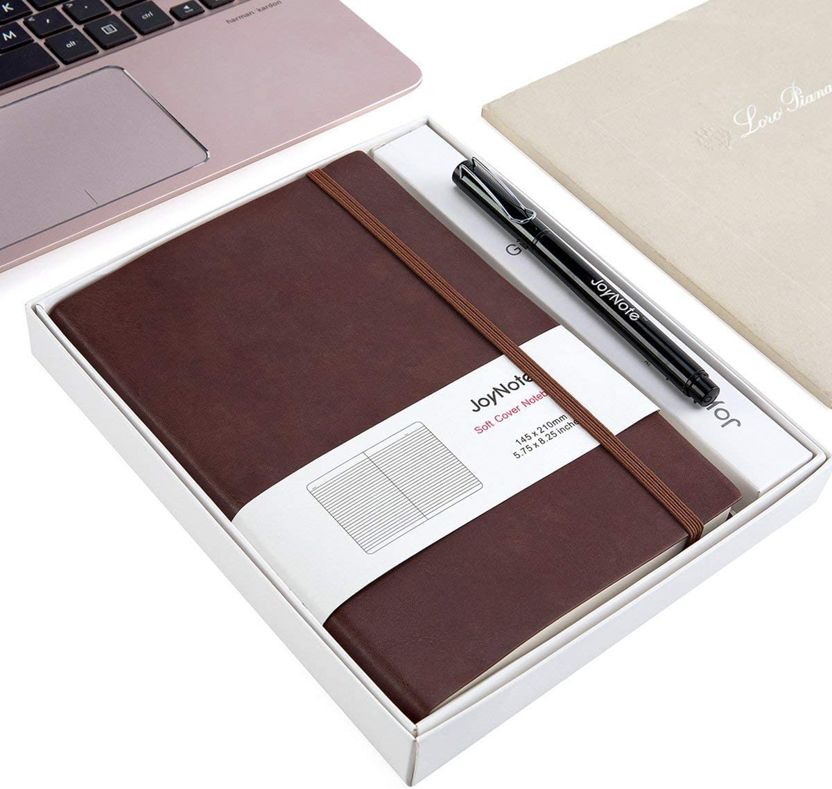 JoyNote A5 Classic Journal Notebook, College Ruled Notebooks with Pen Loop, Thick Paper Small Notebook, 96 Sheets/192 Pages, 5.75 x 8.25 inches, Brown