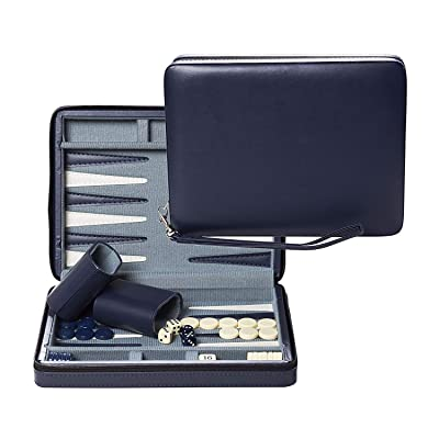 WE Games Blue Magnetic Backgammon Set with Carrying Strap - Travel Size: Toys & Games