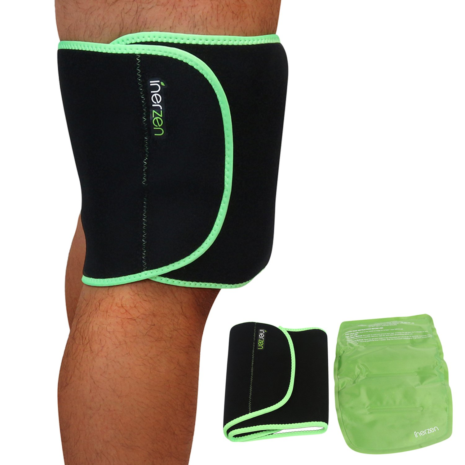 Inerzen Thigh, Quad, Hamstring Support Hot and Cold Gel Therapy Wrap - Includes Hot or Cold Gel Pack for Pain Relief - Microwavable, Freezable, Reusable (One Size Fits All)