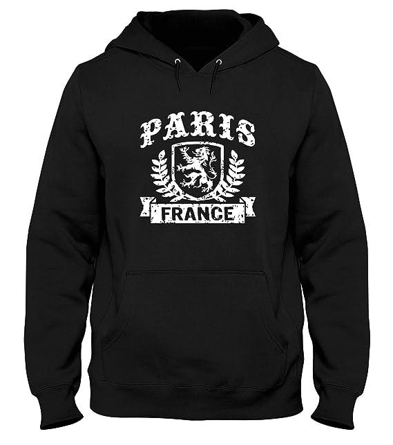 T-Shirtshock Sudadera con Capucha Hombre Negro DEC0508 Paris France: Amazon.es: Ropa y accesorios