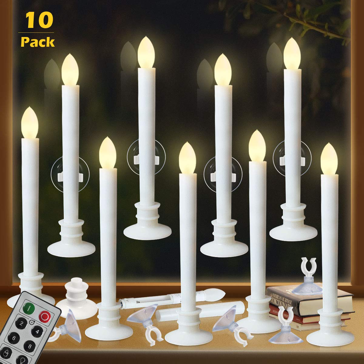 Window Candles with Remote Timers Battery Operated Flickering Flameless Led Electric Candle Lights with 10pcs White Base and 10pcs Suction Cups Taper Candle Holder for Christmas Decorations