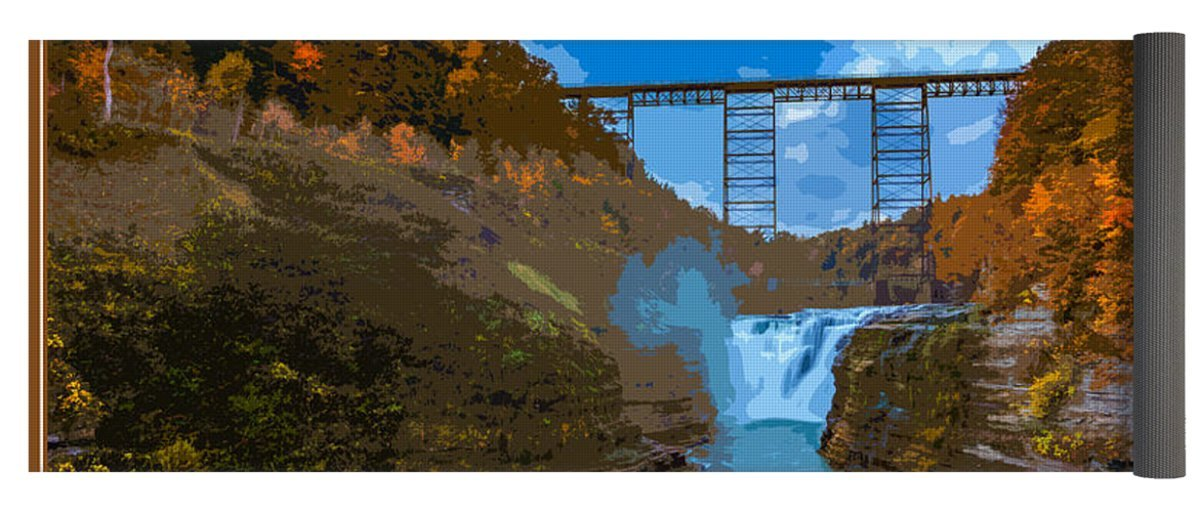 Pixels Yoga Mat w/ Bag ''Letchworth State Park Vintage Travel Poster'' by Pixels