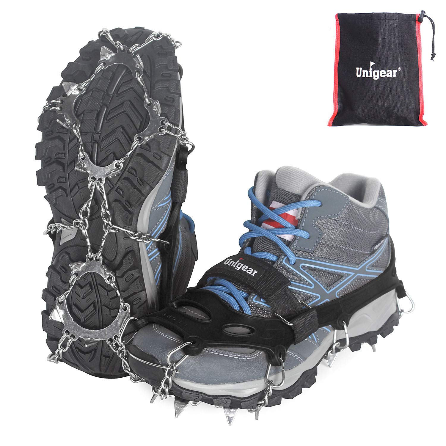 Unigear Traction Cleats Ice Snow Grips with 18 Spikes for Walking, Jogging, Climbing and Hiking (Black (13 Spikes), Small) by Unigear