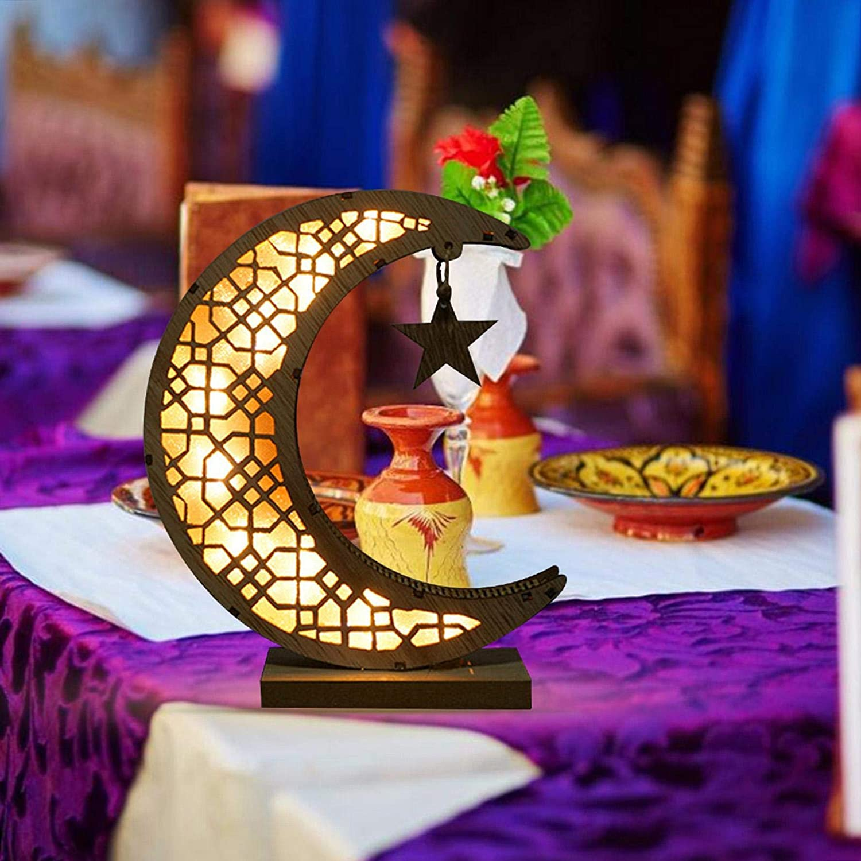 BIUDUI en Bois Eid Mubarak Ramadan D/écoration Lune Lampe Demi-Lune D/éco Lune Star Lampe pour Artisanat Musulman D/écoration Affichage Artisanat21x11x6cm sans Batterie