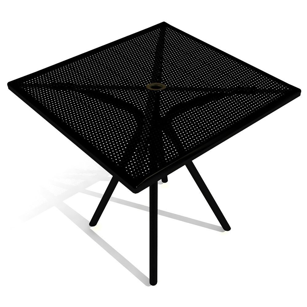 American Tables & Seating AB3030 Outdoor Tables, Fine Mesh Square Top, Umbrella Hole, Powder Coat, 30'' x 30'' x 29'', Black by American Tables & Seating