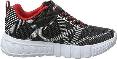 Skechers Flex-Glow, Zapatillas para Niños, Negro (Black Textile/Synthetic/Silver & Red Trim Bksl), 33.5 EU: Amazon.es: Zapatos y complementos