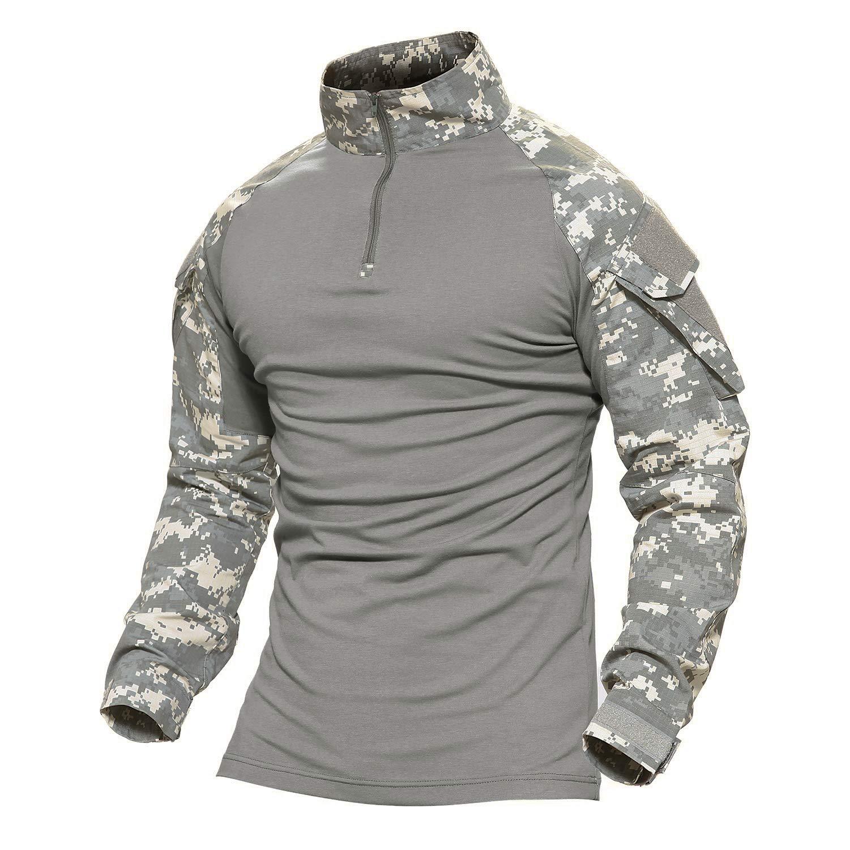 MAGCOMSEN Men's Camo Tactical Military Shirts 1/4 Zip Long Sleeve Shirt with Pockets