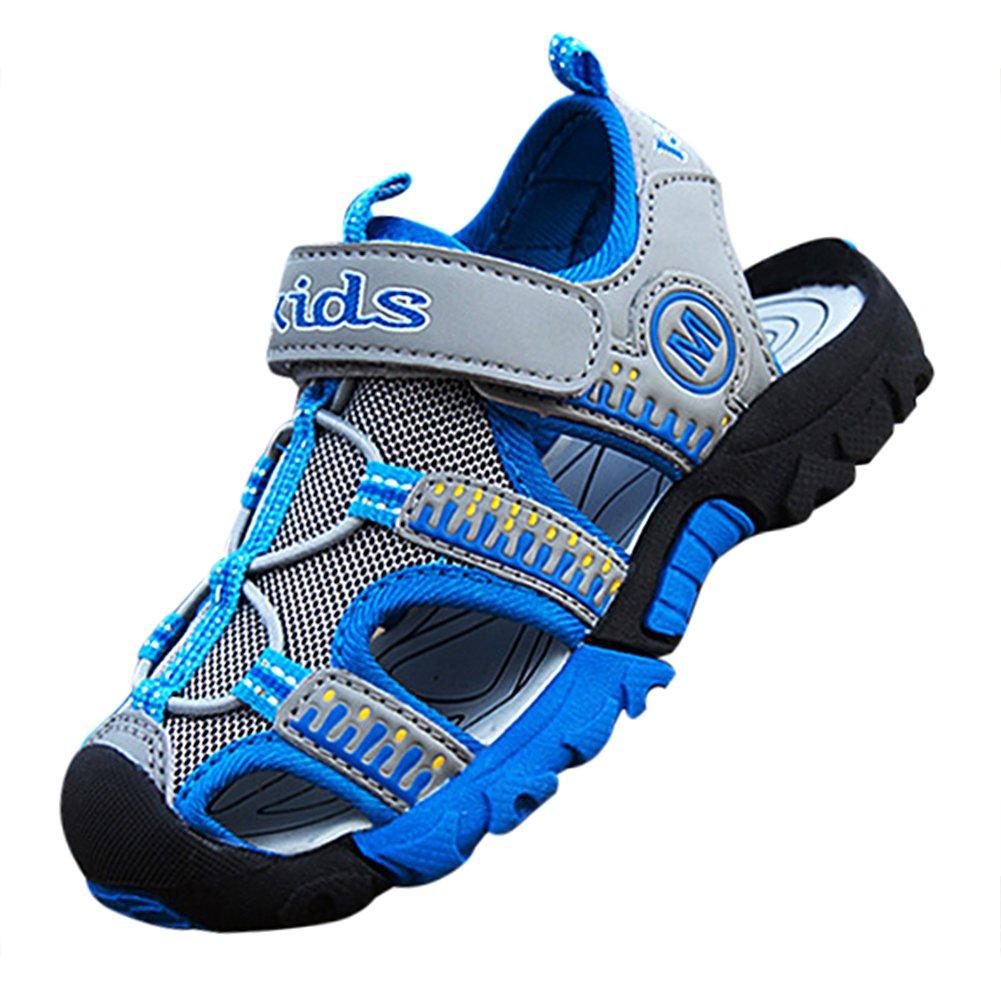 Boy's Sport Sandals Closed-Toe Water Shoes Outdoor Beach, 12 US Little Kid, Blue & Grey