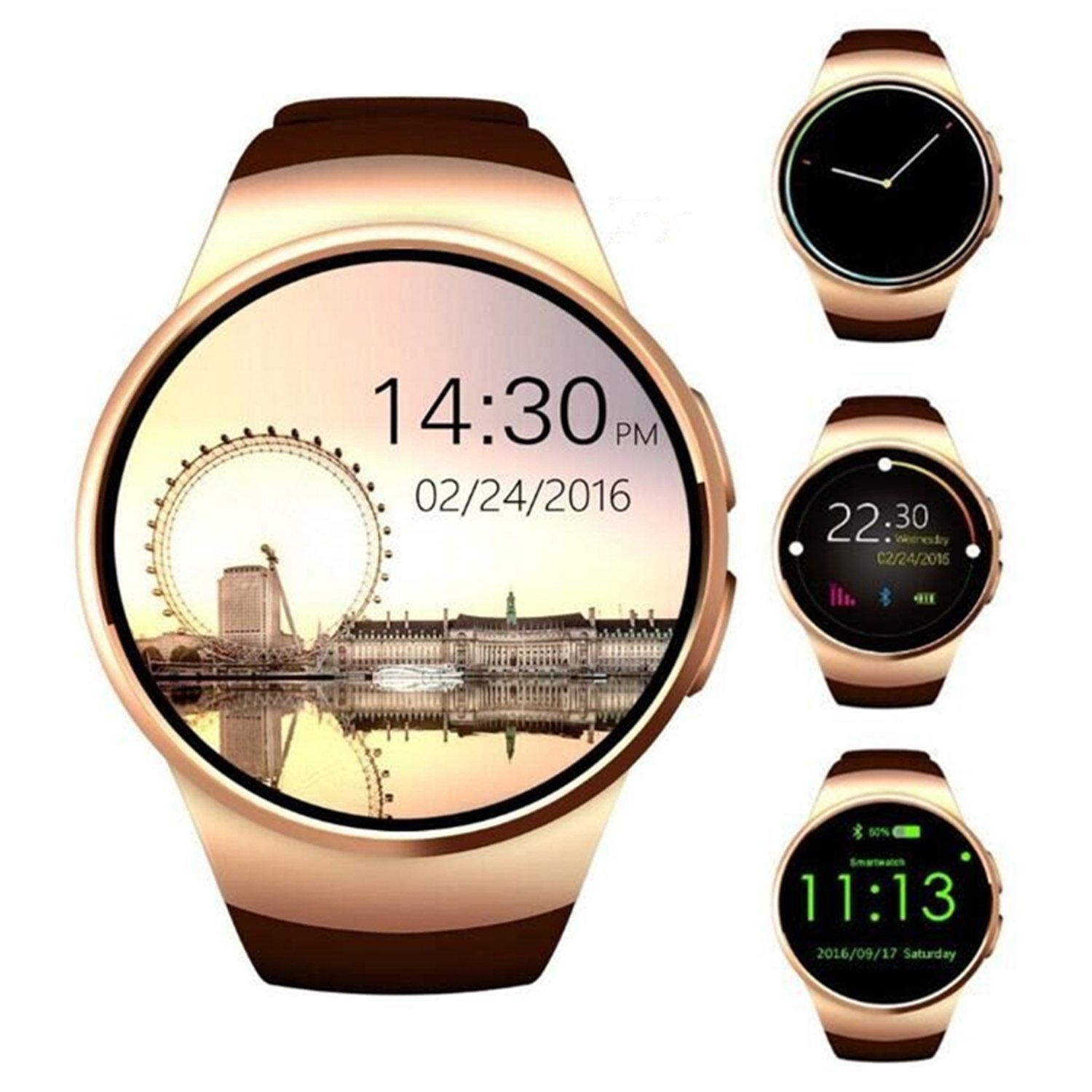 TKSTAR 1.3'' Screen Smartwatch,Bluetooth Heart Rate Monitor Watches Remote Camera for Women/Men/Teens,Sim Card Slot Call Reminder,Text for Iphone,Android,Samsung etc. (Gold) by TK-STAR
