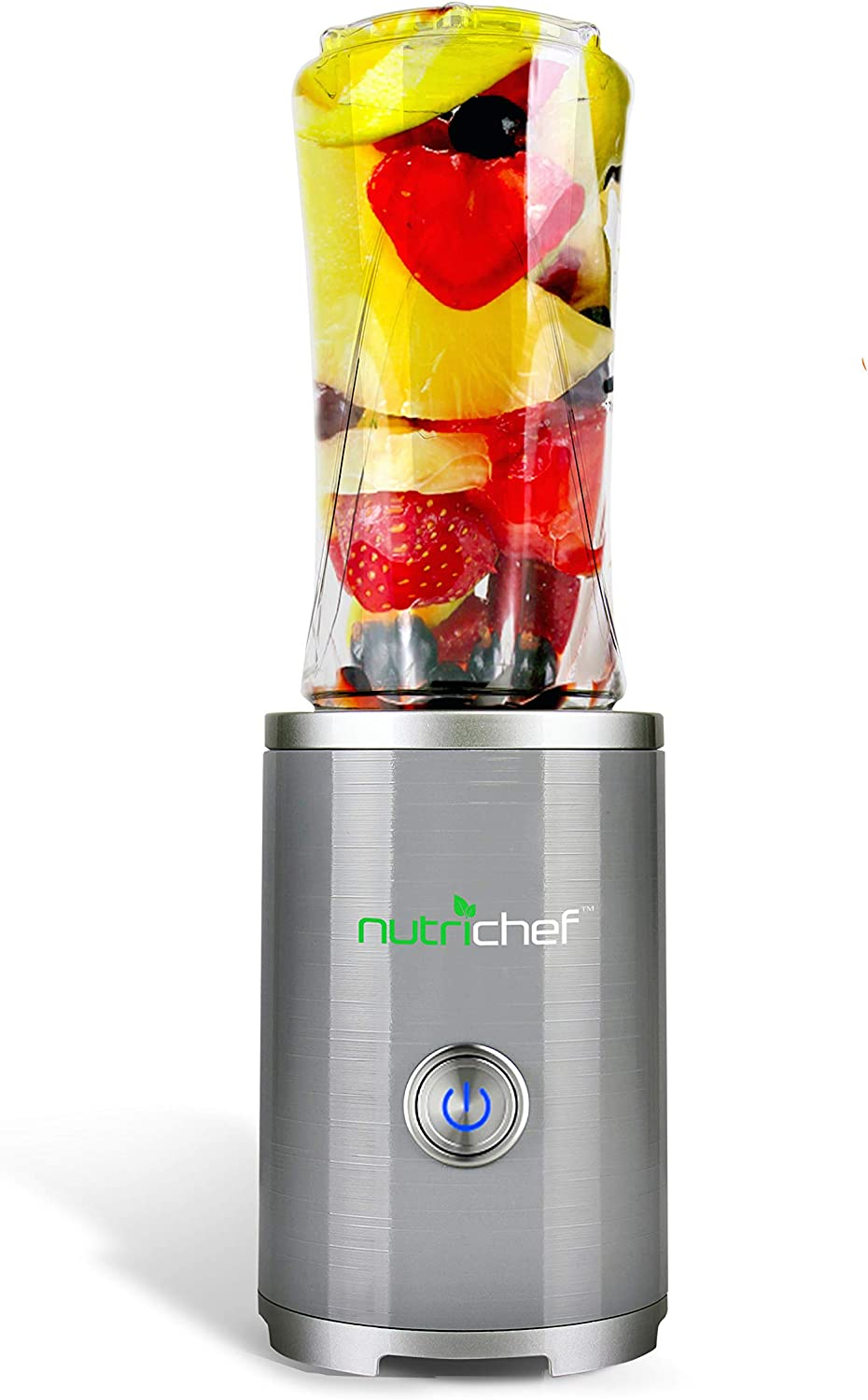 NutriChef Cordless Personal Portable Blender - Professional 300ml Wireless Travel Mini Blender, Electric Shaker Bottle Protein Shakes/Smoothies Maker w/Built-in Rechargeable Battery - NCBL100RC