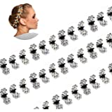 ThEast Mini Flower Hair Claw Clip Shiny mini hairpin Bling Bling hair clips for Wedding Bridal Party Favors (All white…