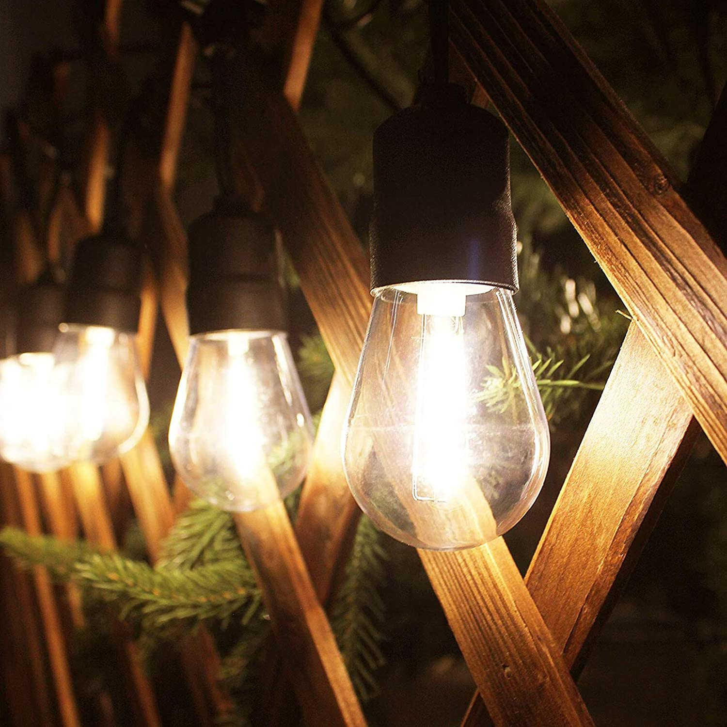 Amazon Com Safety Voltage 88ft Led Outdoor String Lights 25 Hanging Sockets With Shatterproof S14 Light Bulbs Indoor Outdoor For Backyard Garden Patio Pergola Gazebo Bistro Bedroom Christmas Wedding Party Home Improvement