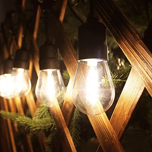 56ft Commercial Grade Waterproof Outdoor String Lights with Shatterproof Hanging LED Bulbs for Backyard Garden Patio Pergola Gazebo Bistro Bedroom Christmas Wedding Party