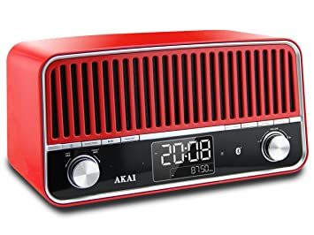 Akai APR500RD - Radio Vintage (Bluetooth, Alarma) Color Rojo ...