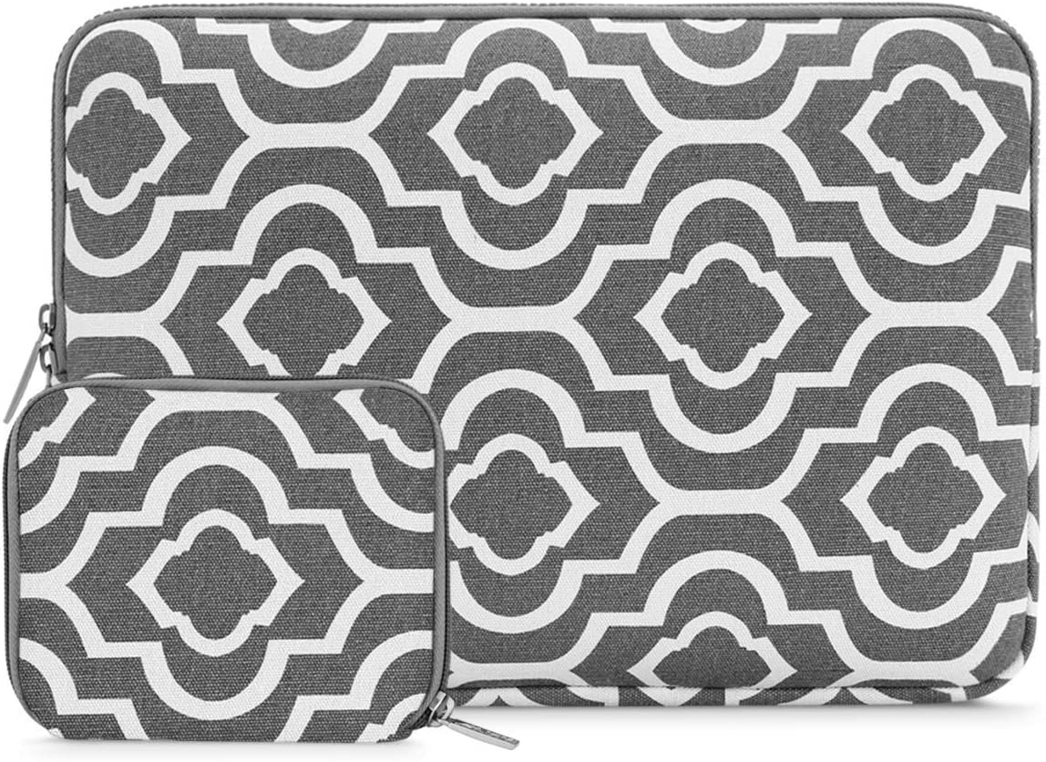 MOSISO Laptop Sleeve Bag Compatible with 13-13.3 inch MacBook Pro, MacBook Air, Notebook Computer with Small Case, Canvas Geometric Pattern Protective Carrying Cover, Gray Symmetrical Flower