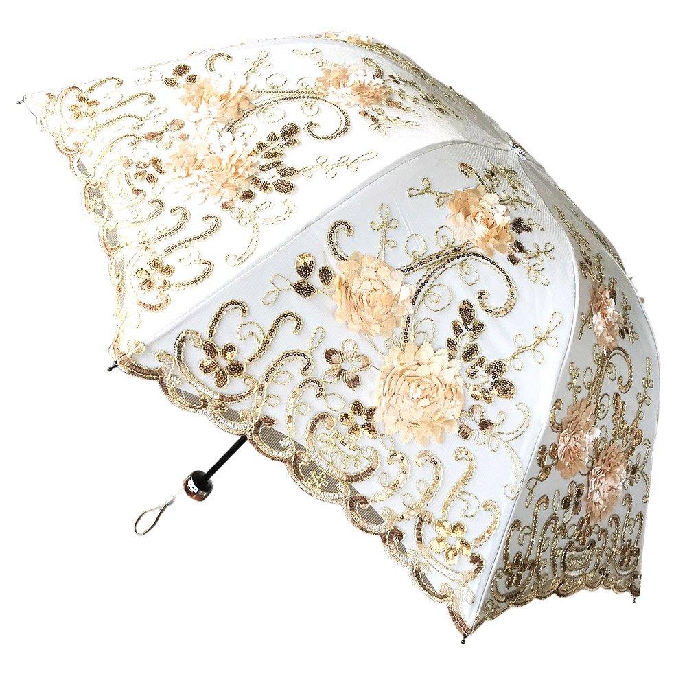 RJWKAZ UV Umbrella Sun Parasol 3 Folding 3D Flower Embroidery Wedding Vintage Lace (3D Flower-Yellow)