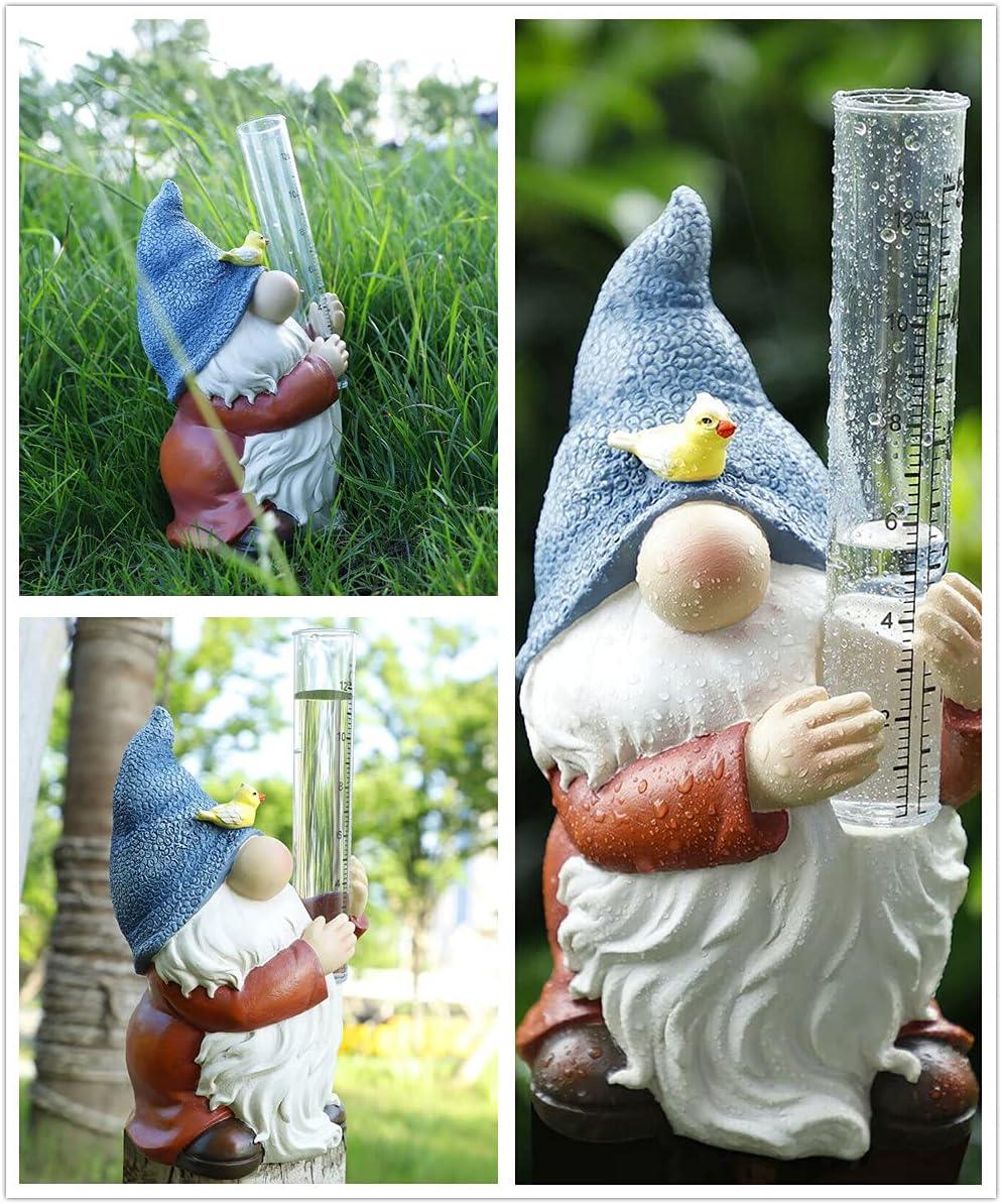 DLCJ Resin Gnome Rain Gauge,Resin Gnome Garden Statue with A Plastic Rain Gauge,Hand Painted Gnome Rain Gauge Sculpture for Your Garden, Lawn or Patio (Gnome,3Pcs)