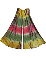 Bohemian Stonewashed Tie-Dye Wide Leg Palazzo Gaucho Flared Pants (Multicolored)