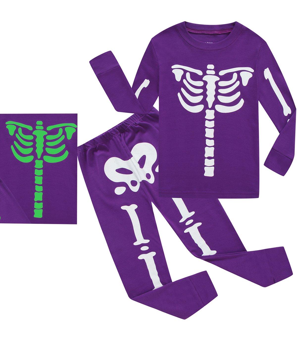 Little Pajamas Boys Girls Skeleton Halloween 100% Cotton Toddler Clothes Kids Sleepwear Size 3
